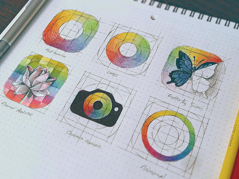 Chroma - icon sketch ios icon apple iphone ios7 butterfly minimal simple circle flower rainbow