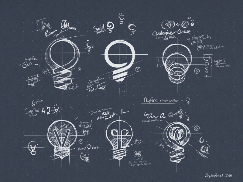 AspireBoard sketches sketch design logo logomark identity branding mark bulb light app