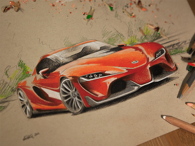 vroom vroom car race auto sketch drawing illustration speed toyota ft1