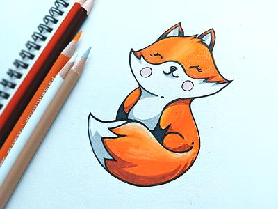 🦊 fire design website identity branding drawing pencil fox illustration