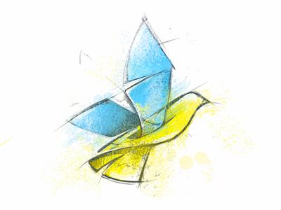 Peace to Ukraine peace ukraine russia war maidan dove bird flag illustration sketch drawing logo