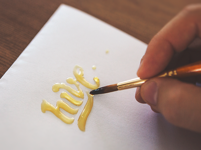 Hive  logo type identity branding honey hive bee sweet brush lettering