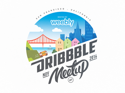 SF Dribbble Meetup @Weebly dribbble meetup badge logo mark illustration sf san francisco golden gate city lettering