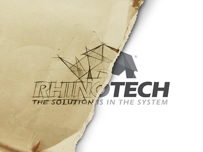 Rhino Logo modern rough sketch concept design idea logo identity branding paper old clean cut edgy