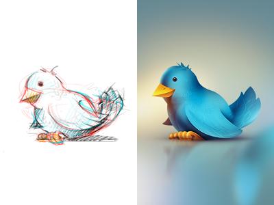 Twitter Bird twitter wing bird birdie birdy shiny icon reflections blue rough sketch twittie