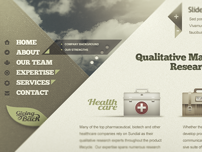º45 Site Layout website layout design triangle 45 degree angles icons nav leaf natural organic healthy skies sky