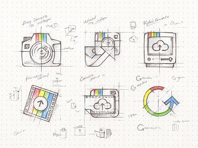 gramblr app icon osx app illustration rough ideas icon sketch