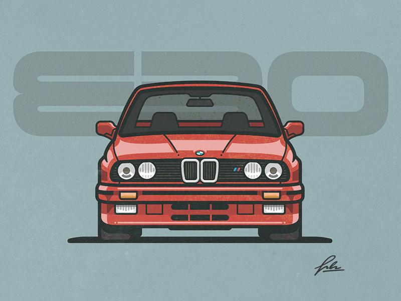 BMW E30 m3 fast sport auto red bimmer e30 bmw illustration car