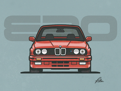 BMW E30 m3 fast sport auto red bimmer e30 bmw illustration car