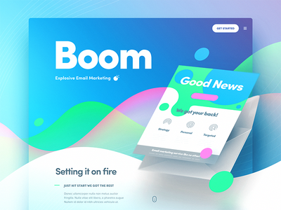 Boom  boom charts graphs newsletter email illustration site web landing