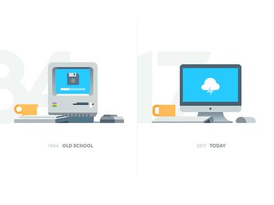 Then vs Now branding app vector icon typography ui design logo illustration apple mac imac