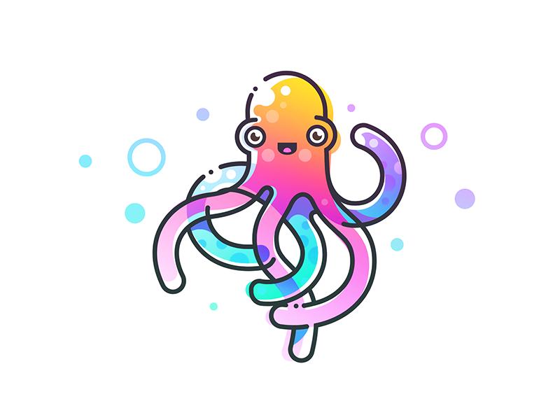 Happy Octopus branding smile character shirt monday happy octopus design illustration