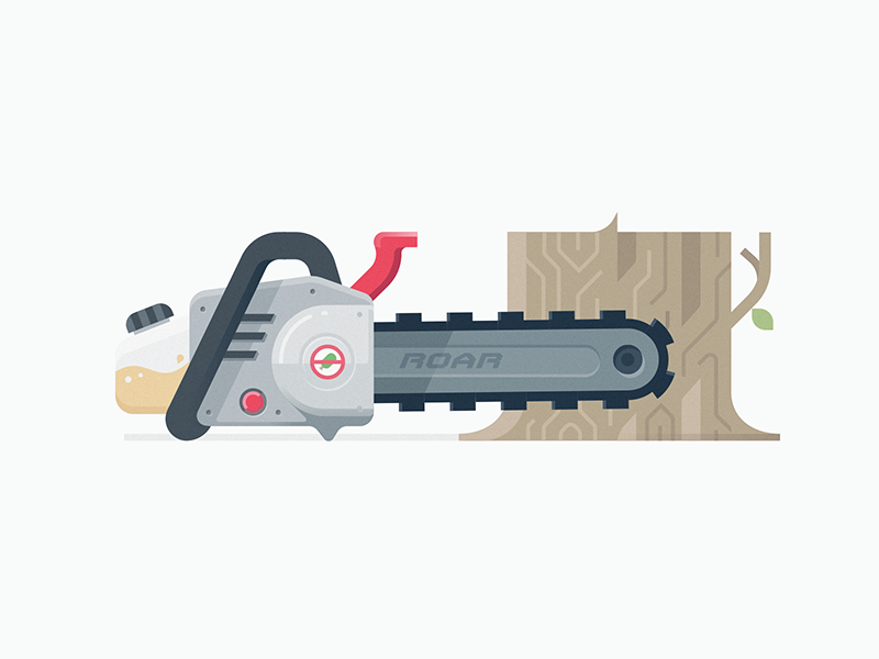 Chainsaw web website green saw roar icon gas tree branding illustration chainsaw