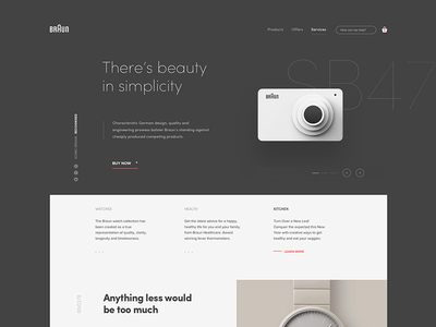 Braun site exploration shop watch camera layout typography page landing branding illustration ux ui website