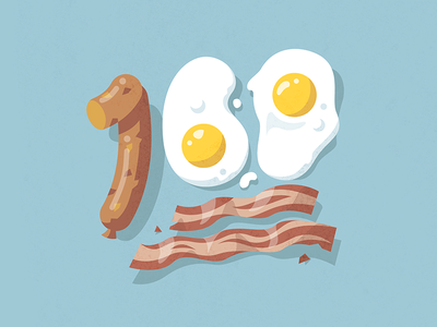 Keep it 💯 site landing food icon illustration delicious yum sausage breakfast bacon eggs