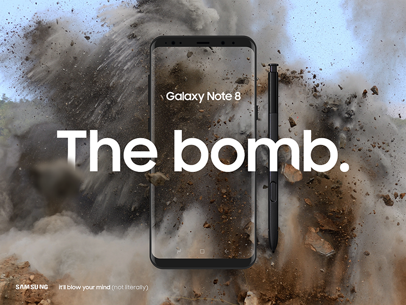 Note 8 - The bomb. boom explode iphone mobile app web landing advertising note s8 smasung