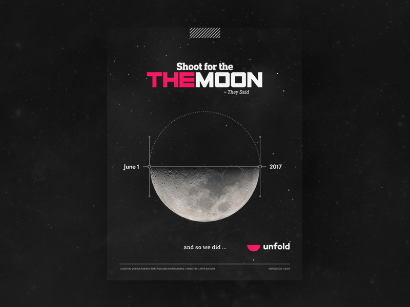 unfold gone global type branding logo moon icon joke illustration poster ad