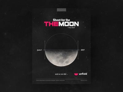 unfold gone global type branding logo moon icon joke illustration poster ad