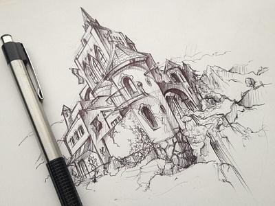 castle sketch sketch illustration castle pen city