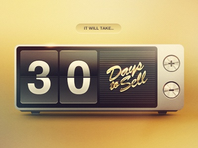 Days to Sell flip clock days calculator vintage old buttons ios icon radio alarm plus minus brushed aluminum chrome retro