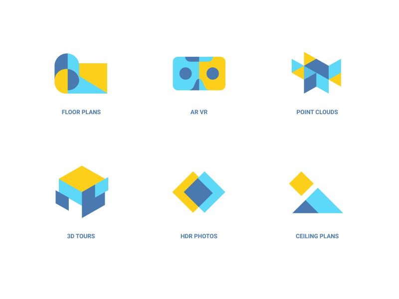 MatterPort Icons drawing vetor illustration icons