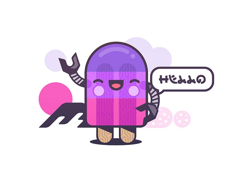 SweetBot app drawing fun happy japan illustration ice cream robot bot