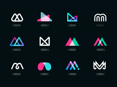 Mmmm icons set abstract app illustrations icon letter type mark identity branding logo