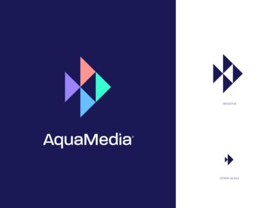 AquaMedia swim salt water aquarium fish mark identity branding logo