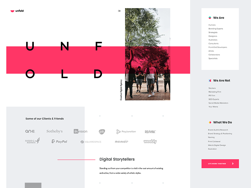 Unfold typography agency team photography design site page landing website