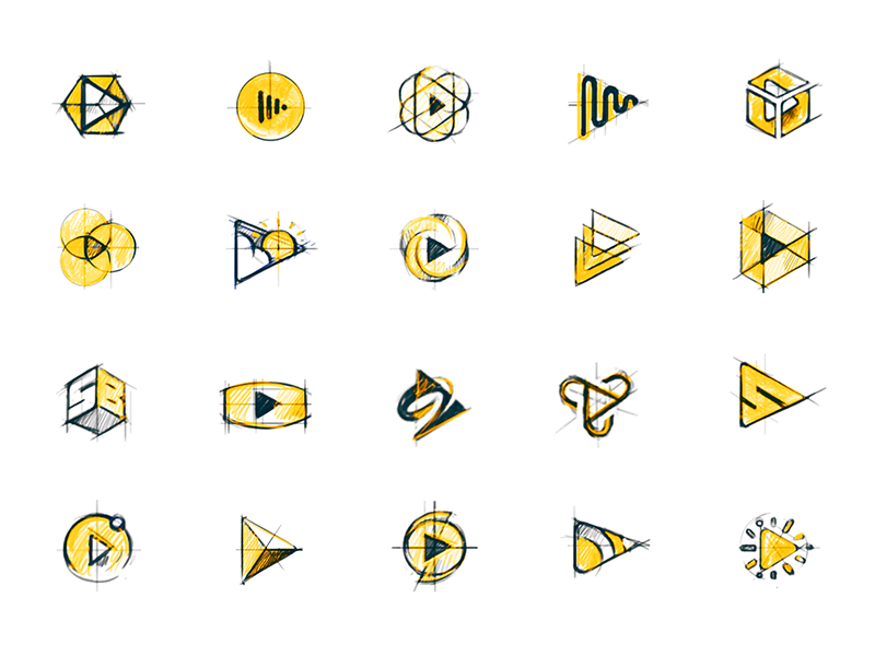 Skybox sketch exploration vr play icon mark identity branding logo