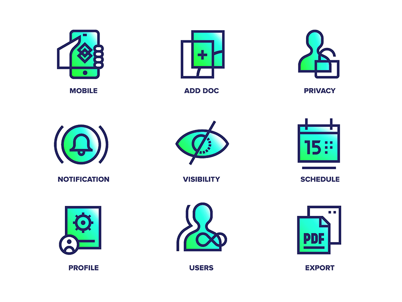 AirStory - Icons neon story app website ui mark iconography drawing vector illustration icons
