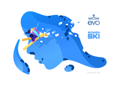 Evo - Women Ski jump nature mountain evo ski women sketch drawing illustration