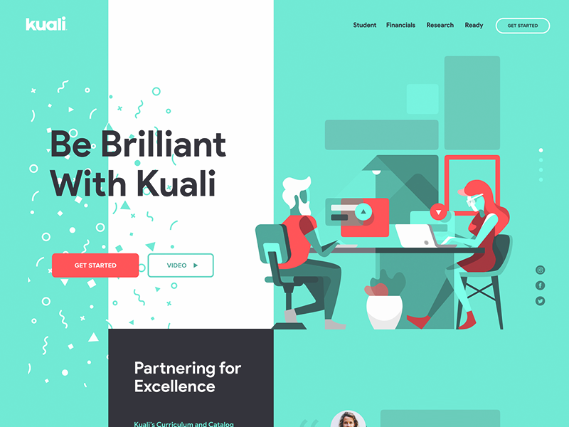 Kuali - Landing Page design site page landing website computer people illustration