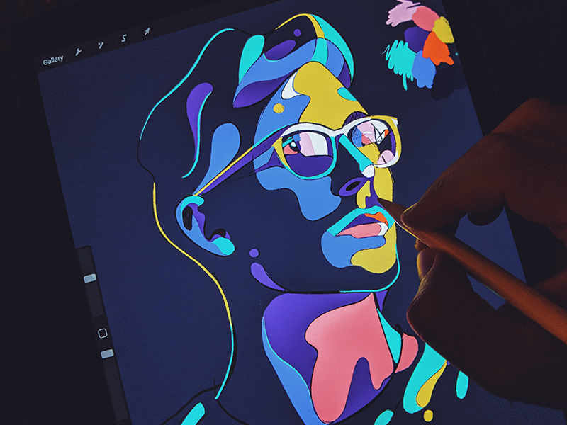 Weekend Painting sketch drawing illustration portrait man graphic website hero illustrator ipad