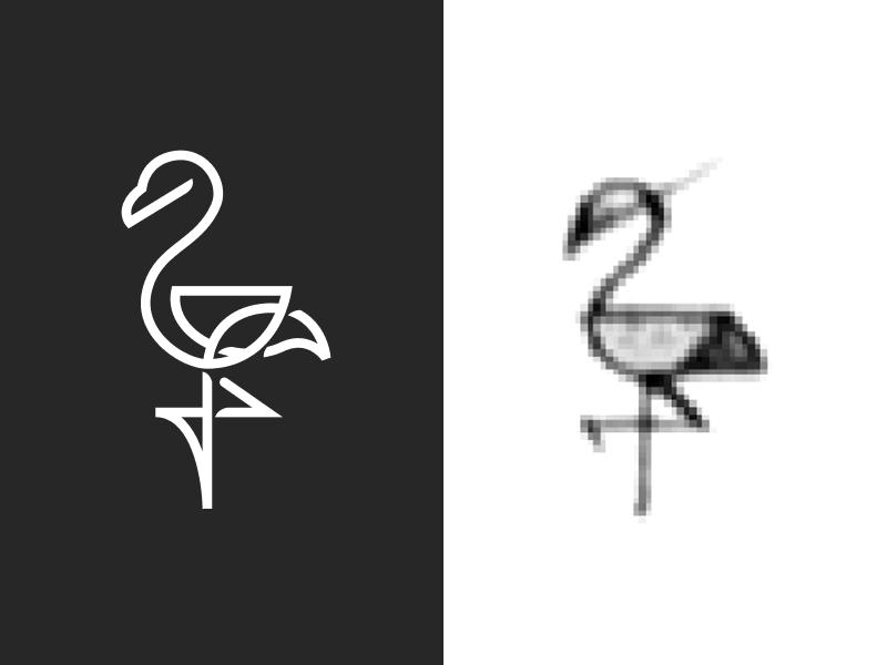 Flamingo mark icon logo line sketch figma bird flamingo vector drawing illustration