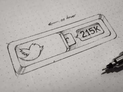 twitter button button twitter social icon ios iphone web ui sketch rough draft process pencil pen drawing