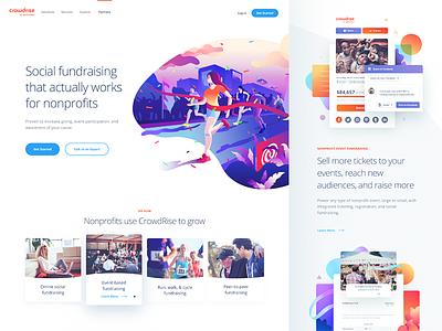 Crowdrise Site runner illustration design site page landing website