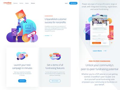 Crowdrise Site cloud runner illustration design site page landing website