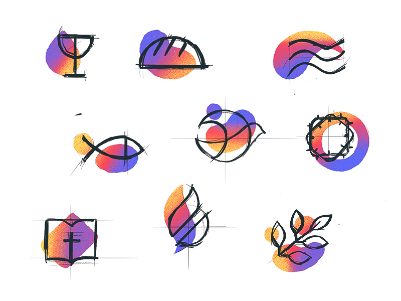 Christian icon - Sketches sketch christian church branding mark icon drawing vector illustration icons
