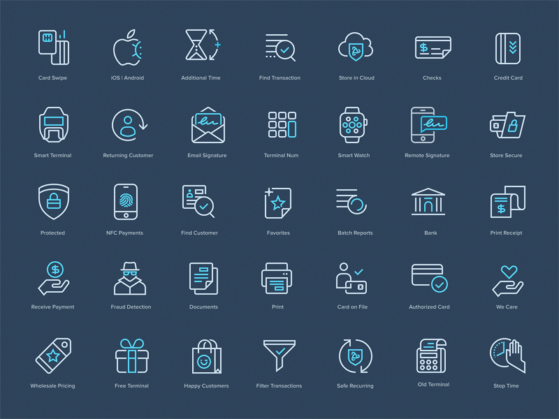 PayJunction - Icon Set payment bank logo identity branding mark icon drawing vector illustration icons