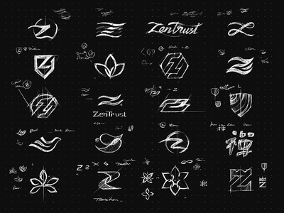 ZenTrust - Concept Sketches logo typography mark drawing sketch identity branding illustration icon