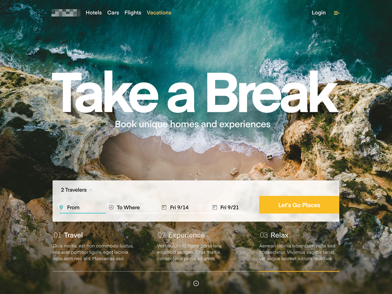 Travel Site - Landing ui vacation shore beach travel branding page landing website