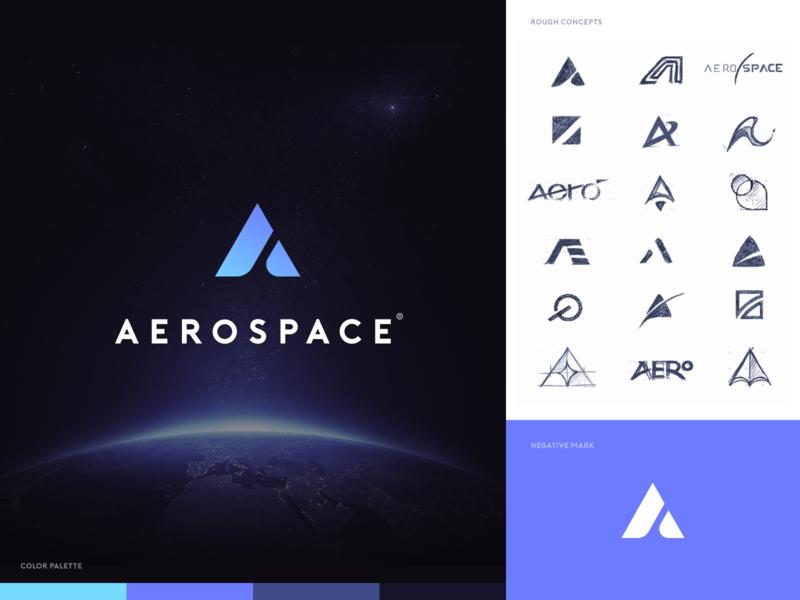 Aerospace.com - Logo design website mark sketch identity branding icon logo