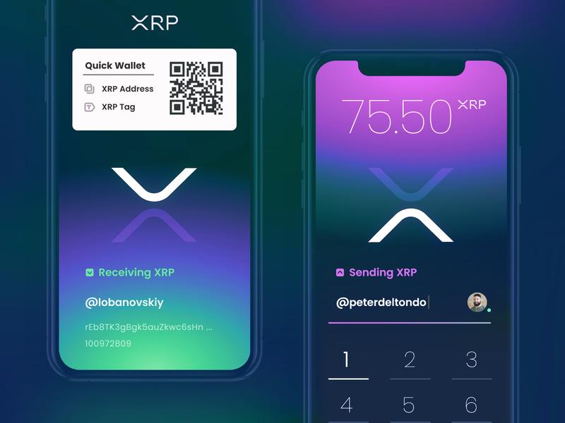 XRP - Wallet money iphone ios app concept bitcoin xrp ripple app blockchain crypto