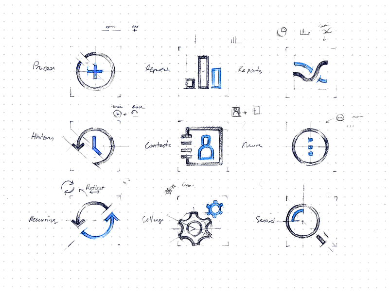 PayJunction - Nav Icons drawing sketch ux ui android ios mobile app icons nav navigation