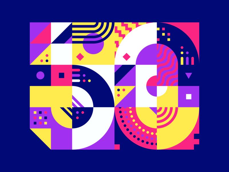 50k 🙌 drawing poster illustration shapes puzzle pattern vector celebration followers 50k