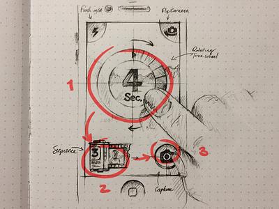 camera timer iphone ios app design icon ui ux camera timer film hand wheel clock flash