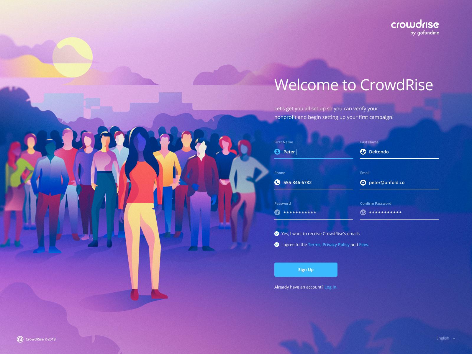 CrowdRise - Signup crowd people drawing landing signup form ux ui web website illustration