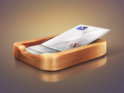 contact icon mail envelope wood tray reflection ios iphone app contact stamp post