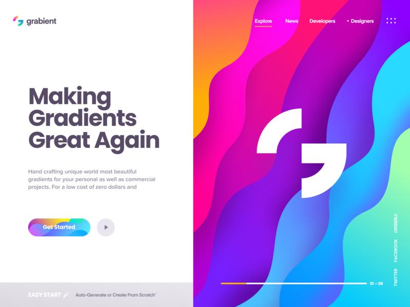 Grabient - Landing Page typography pattern illustration gradient logo landing ux ui website